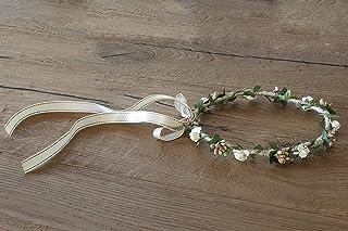 Diadema comunion de flores blancas y doradas ajustable diametro aprox.20 cm