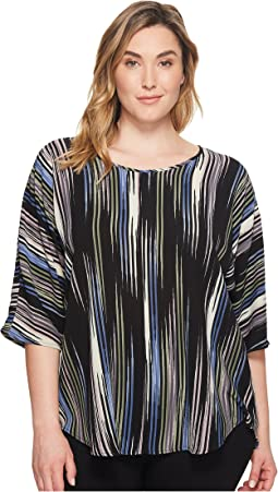 Vince Camuto Specialty Size - Plus Size Elbow Sleeve Colorful Peaks Center Front Seam Blouse