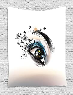 Ambesonne Eyelash Tapestry, Art Fashion Illustration with Hand Drawn Female Eye Dramatic Fantasy Look, Wall Hanging for Bedroom Living Room Dorm, 60