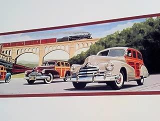 Woodys At the Train Station Wallpaper Border - Railroad, Nash, Buick, Pontiac Woodies