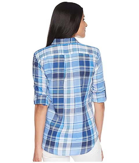 camisa algodón Ralph azul Plaid Multi LAUREN Lauren sarga nTUqXwx78
