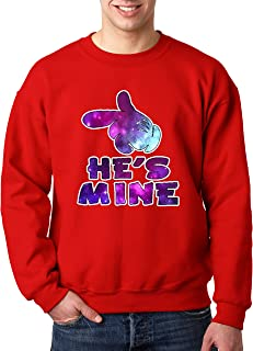 New Way 027 - Crewneck He's Mine Mickey Hands Galaxy Unisex Pullover Sweatshirt