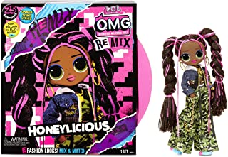 LOL Surprise OMG Remix Honeylicious Fashion Doll, Plays Music with 25 Surprises Including Shoes, Hair Brush, Doll Stand, M...