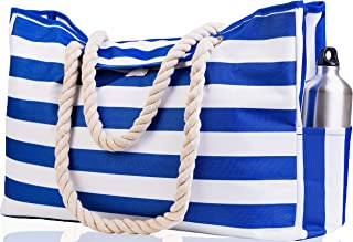 "Beach Bag XXL. 100% Waterproof. L22""xH15""xW6"" (56x38x15cm) w Rope Handles, Top Magnet Clasp, Outside Pockets. Dark Blue Stripes Shoulder Beach Tote Has Phone Case, Built-in Key Holder, Bottle Opener"