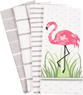 Pantry Flamingo Kitchen Dish Towel Set of 4, 100-Percent Cotton, 18 x 28-inch