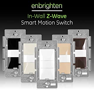 GE 26931 Enbrighten Z-Wave Plus Smart Motion Light Switch, Works with Alexa, Google Assistant, SmartThings, Zwave Hub Required, Repeater/Range Extender, 3-Way Ready 1st Gen, White & Light Almond