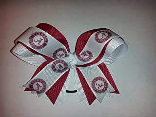Alabama hair bow headband small Crimson Roll Tide Big AL 3 inch houndsthooth FOE
