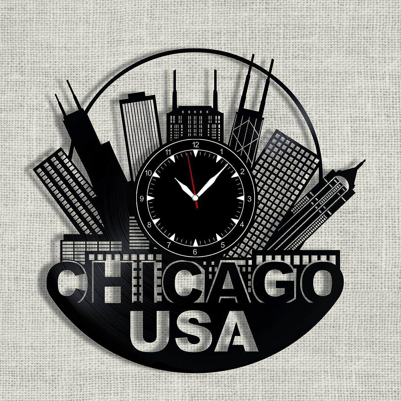 SofiClock Chicago City Vinyl Record Clock 12