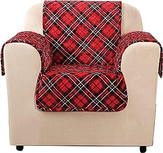 SureFit  Lodge Chair Pet Throw/Slipcover with Arms, Tartan Plaid