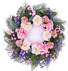 """Valery Madelyn 24"""" Spring Wreath with Rose Flowers, Hydrangea and Lavender for Mother's Day, Wedding, Front Door and Home Decor to Celebrate Spring & Summer Season"""