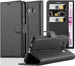 Cadorabo Custodia Libro per Samsung Galaxy J5 2016 in Nero Carbone – con Vani di Carte, Funzione Stand e Chiusura Magnetica – Portafoglio Cover Case Wallet Book Etui Protezione