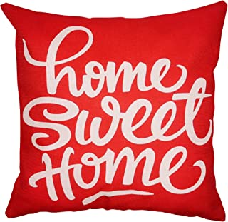 Arundeal 18 x 18 Inch Home Sweet Home Red Decorative Square Cotton Linen Throw Pillow Cover