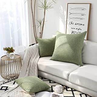 Kevin Textile Color Mixing Faux Linen Square Throw Pillow Case Sham Cushion Covers for Car/Couch Use, 26-inch (2 Packs, Avocado Green)