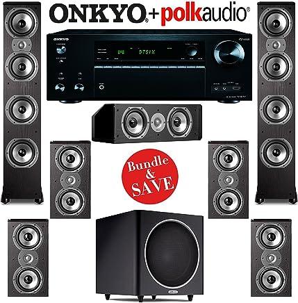 Polk Audio TSi 500 7.1 Home Theater Speaker System with Onkyo TX-NR757 7.2-Ch Network AV Receiver