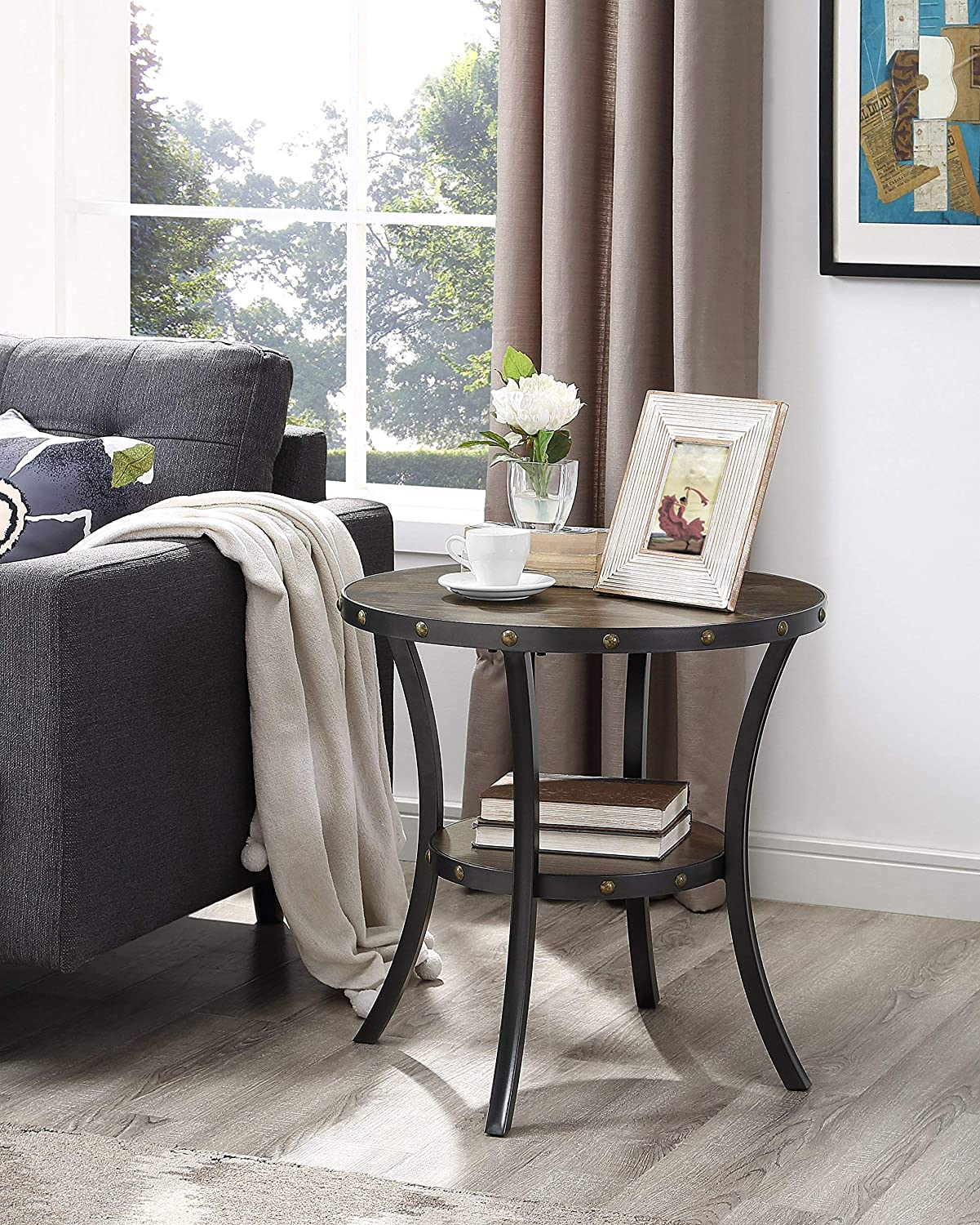 Roundhill Furniture 3362E Biony Espresso Wood End Table with Nail Head Trim,