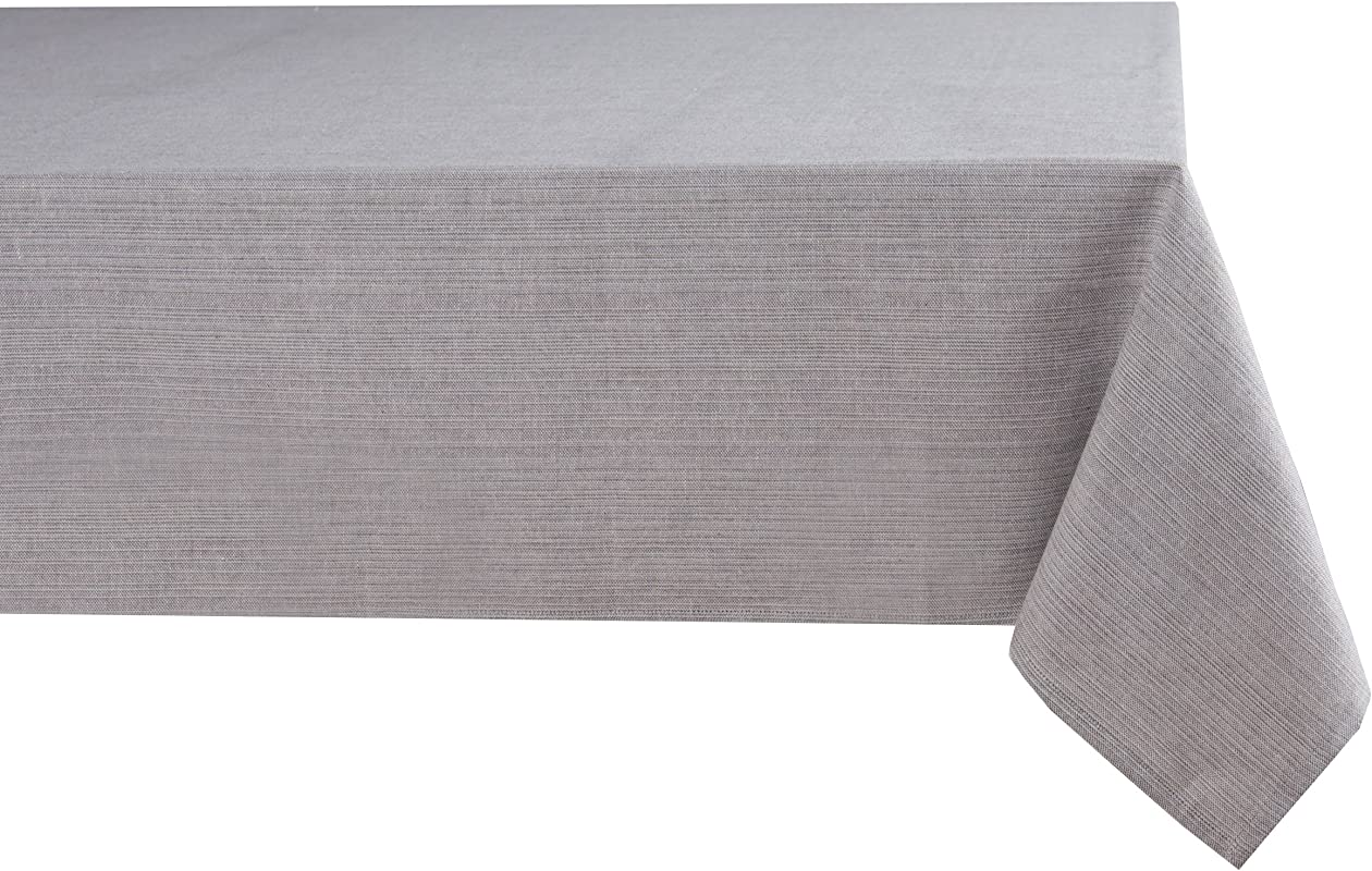 Sticky Toffee Cotton Tablecloth 60 In X 84 In Gray Solid Seats 6 To 8 People