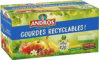 ANDROS - Compote de Fruit - Gourde Recyclable - Allégée - Goût Pomme + Pomme/Banane + Pomme/Fraise + Pomme/Vanille - Idéal...