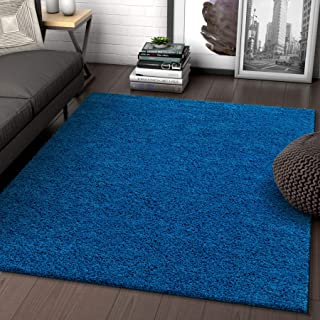 Solid Retro Modern Dark Blue Shag 5x7 (5' x 7'2'') Area Rug Plain Plush Easy Care Thick Soft Plush Living Room Kids Bedroom
