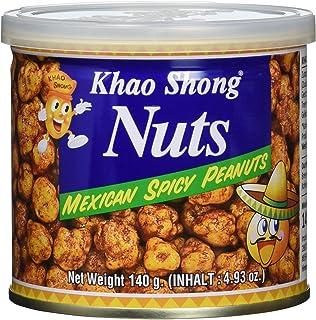 Khao Shong Mexican Spicy Peanuts, würzige Erdnüsse Mexican Style, im pikant-würzigen Teigmantel, knuspriger Snack für unterwegs, 1 x 140 g Dose