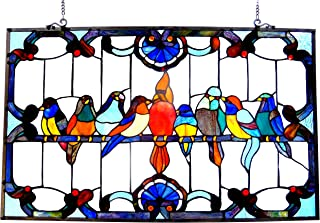 Chloe Lighting Tiffany-Glass Featuring Gathering Birds Window Panel