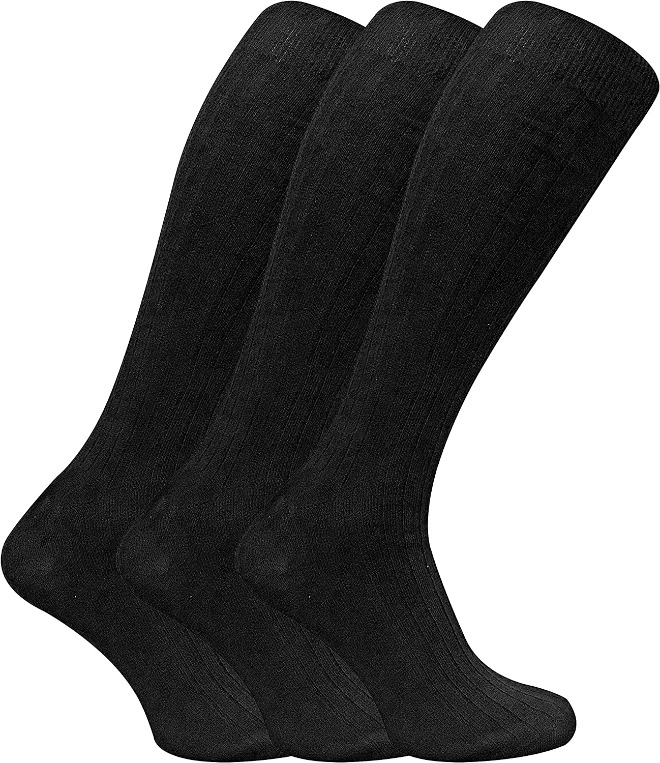 3 Pack Mens 100% Cotton Over the Calf Knee High Lightweight Ribbed Dress Socks
