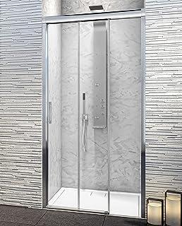 Mampara de Ducha Frontal - 3 Hojas Correderas - Cristal de Seguridad de 6 mm con ANTICAL INCLUIDO - Best - Modelo PORTLAND