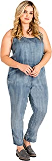 Standards & Practices Plus Size Spaghetti Strap Tapered Leg Tencel Denim Jumpsuit - Precious