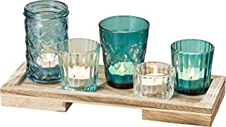 The Cape Cod Centerpiece, 5 Votives, Rectangular Tray, Set of 6, for Candles and Flowers, Rustic Shades of Blue to Clear Jelly Jar Glass, 11 L x 4 1/4 W x 4 3/4 H Inches, by WHW