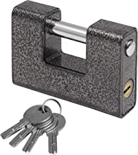 Padlock - Heavy Duty 1kg Padlock with 4 Keys - D-Shaped Hardened monoblock Industrial Protector Hardware Lock for Outdoor ...
