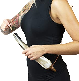 American Heritage Industries One Powder Horn, Natural So Styles Will Vary- Antique Authentic Black Powder Horn, Reminder of Frontier Days, Made of Real Bull Horn, Colors Will Vary as Will Shine