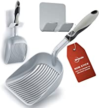 iPrimio Sifter Deep Shovel - Designed Cat Owners - Non Stick Plated, Solid Aluminum. Perfect Scooper Holder. Solid Handle Patented. Silver