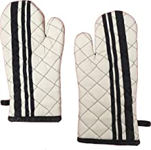 Glus 100% Cotton Padded Heat Proof Oven Gloves- Pair,Size-16 X 35 cms,Color-Floral (Ivory, Full)