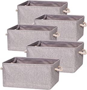 TENABORT 5 Pack Large Storage Basket Bin, Foldable Storage Cube Box Canvas Fabric Collapsible Organizer with Handles for Closet Home Office Clothes Shelf, Grey