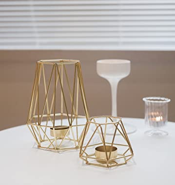Set of 2 Gold Geometric Metal Tealight Candle Holders for Living Room & Bathroom Decorations - Centerpieces for Wedding &