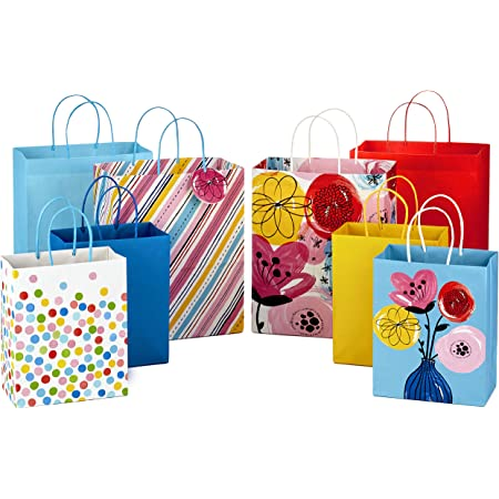 """Hallmark Gift Bags Assortment, Floral, Stripes, Polka Dots, Solids (Pack of 8: 4 Large 13"""" and 4 Medium 9"""") for Birthdays, Mother's Day, Baby Showers, Bridal Showers, Any Occasion"""