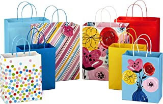 Hallmark Gift Bags Assortment, Pack of 8 in Floral, Stripes, Polka Dots, Solids (4 Large 13