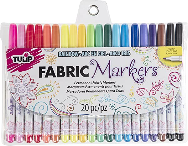 Tulip Permanent Nontoxic Fabric Markers 20 Pack Multicolor