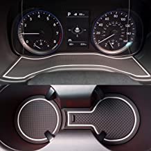 Custom Fit Cup, Door, Center Console Liner Accessories for 2018 2019 2020 Hyundai Kona 19PC Set (White Trim)