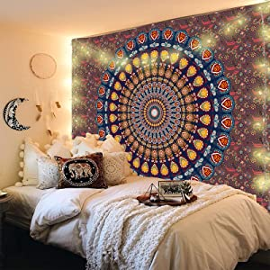 Sobawuo Bohemian Mandala Tapestry Hippie Boho Wall Tapestry Psychedelic Peacock Tapestry Aesthetic Wall Hanging Tapestries for Bedroom Living Room Decor (H29.5