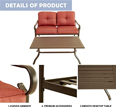 LOKATSE HOME 2-Piece Patio Loveseat Set Outdoor Cushioned Sofa Bench with Coffee Table, Steel Frame, Red