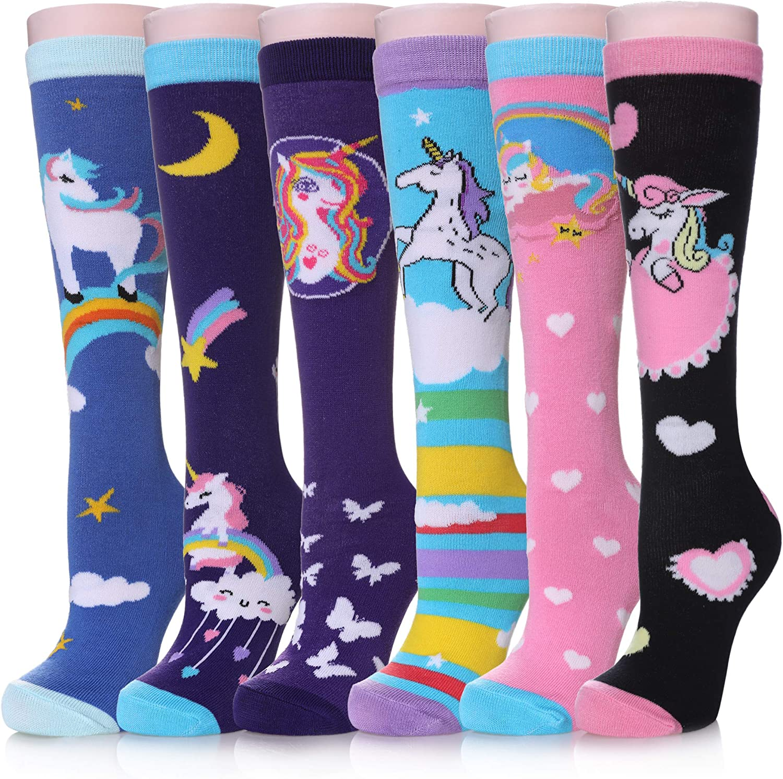 MQELONG Cartoon Animal Cotton Long Over Calf Socks Girls Knee High Socks for 3-12 Years Old