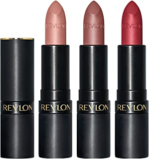 REVLON Super Lustrous The Luscious Mattes Lipstick, 3 Piece High Impact Lipcolor Gift Set, Matte Finish in Nude Plum & Red, Pack of 3