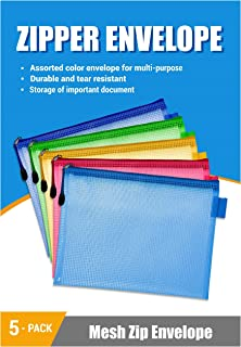 Plastic Mesh Envelopes with Zipper for Home School and Work Office Organization, 5-Pack, Assorted Color