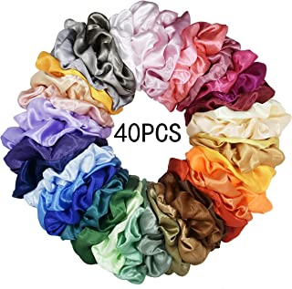 Mcupper 40 Pcs Hair Silk Scrunchies Satin Elastic Hair Bands Scrunchy Hair Ties Ropes Scrunchie for Women Girls Hair Accessories - 40 Assorted Colors Scrunchies