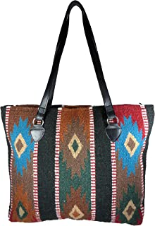 Large Tote Bag, Southwest and Native American Designs on Hand-woven Wool with vegan leather straps