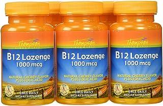 Thompson B-12 Lozenges, Cherry Flavor + Folic Acid, 30 Lozenges,  (Pack of 6)