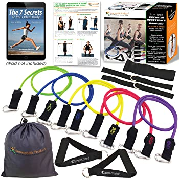 Exercise Bands for Working Out Arms, Legs and Butt – Resistance Bands with Handles for Women, Men – Physical Therapy,...
