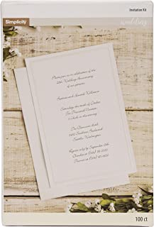Simplicity Ivory Wedding Invitation Cards with Envelopes, 100pc, 5.5''W x 8.5''L