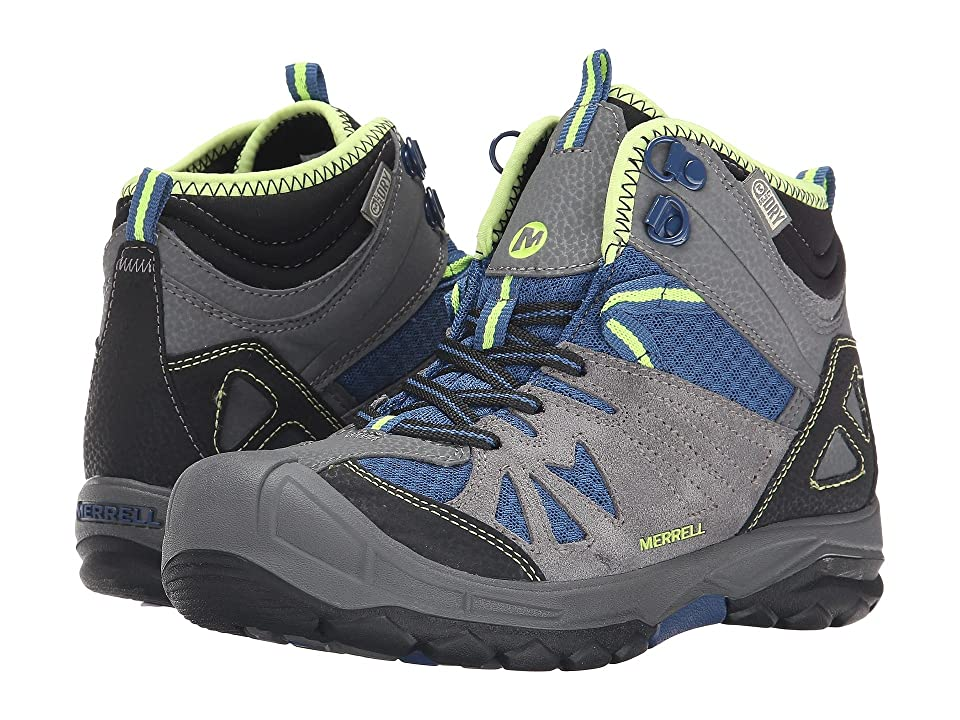 Merrell Kids Capra Mid Waterproof (Big Kid) (Grey/Blue) Boys Shoes