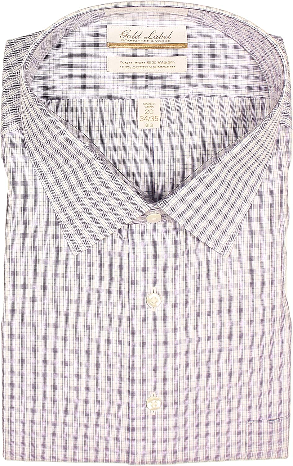 Gold Label Men's Big and Tall Non-Iron Wrinkle-Resistant Long Sleeve Dress Shirt with Spread Collar